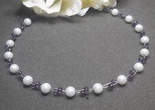 Wunderschöne Perlenkette  weiß / amethyst Collier NEU