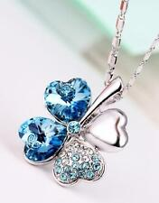 New Silver Flower Pendant with Aquamarine Blue Swarovski Crystals Chain Jewelry