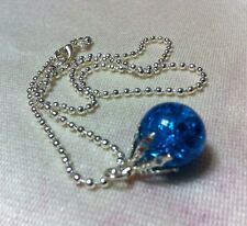 Fried Marble Necklace Sapphire Blue Glass Pendant shattered Globe Silver Chain