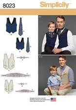 SIMPLICITY SEWING PATTERN BOYS' & MEN'S LINED WAISTCOAT VEST BOW TIE ASCOT  8023