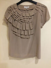Country Road Latte Coloured Silk Ruffle Blouse Top Size S