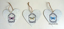 Set 3 Paris Heart Butterfly Picture Wall Hanging Vintage  art shabby chic