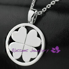 18K White GOLD Layered Solid Four Leaf Clover Pendant NECKLACE Unisex ES334-1L