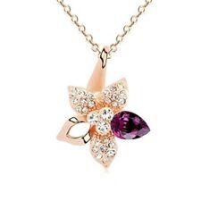18K Gold GP Swarovski Element Crystal Pointy Flower Pendant Necklace Violet