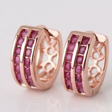 Hoop ruby 18K rose gold filled charming lady earring! Wedding jewelry !