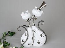 Modernes Windlicht Lovely Cats aus Keramik und Metall weiß/silber 29x37 cm