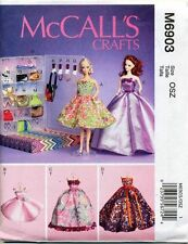 MCCALLS SEWING PATTERN 6903 BARBIE/FASHION DOLL CLOTHES EVENING GOWN ACCESSORIES