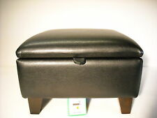 LARGE BLACK  FAUX LEATHER FOOTSTOOL / POUFFE / WITH STORAGE solid beech legs