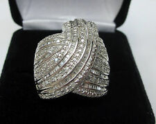 Huge 1 Carat Round Baguette Diamond Fashion Statement Cocktail Ring Silver Sz 7