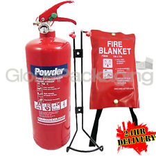 2KG POWDER ABC FIRE EXTINGUISHER + FIRE BLANKET - HOME BOAT OFFICE CAR TAXI ETC.