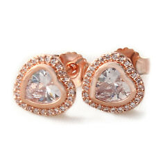 Rose Gold Earrings 925 Solid Sterling Silver Sparkling Love Heart Studs Pins