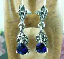 MARCASITE & SAPPHIRE Sterling Silver Art Deco Style Drop Earrings