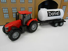 PERSONALISED ANY NAME RED TOY TRACTOR & TRAILER GIRL BOY BIRTHDAY GIFT BOXED NEW