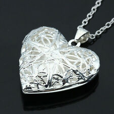 Sterling Silver Filled Hollow Heart Locket Charm Pendant Necklace Chain