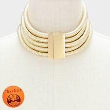 Chunky 14K Gold Plated 5 Layer H&M Balmain Style Coil Choker Statement Necklace