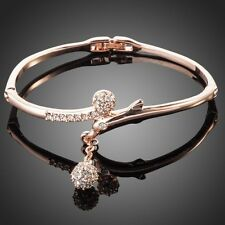 18K Rose Gold Plated Swarovski ELEMENTS Ball Charm Bangle Bracelet