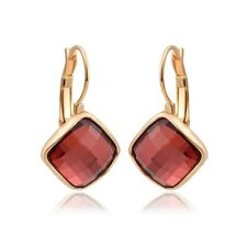 Fashion Lady 18K Yellow Gold Filled Ruby Crystal Square Hoop Earrings Jewellery