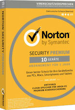 Norton Security Premium | 10 PC / Geräte / 1 Jahr | Download / Key / Internet