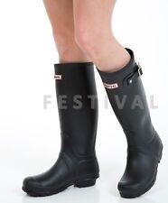 WOMENS LADIES FLAT FESTIVAL WELLIES WELLINGTON RAIN BOOTS SIZE 6 UK - Black Matt