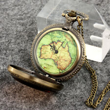 Steampunk Vintage Bronze Map Old Dial Pocket Watch Pendant Necklace Chain