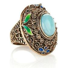 AMY KAHN RUSSELL BRONZE OVAL AMAZONITE GEMSTONE BAND RING SIZE 7 HSN SOLD OUT
