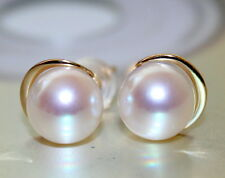 14k solid gold AAAAA 7.5mm JAPANESE AKOYA SALTWATER pearl earrings