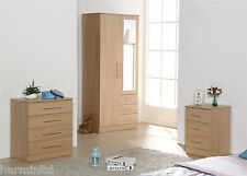 STYLISH OAK TRIO SET - Mirrored Soft Close Wardrobe, Chest of Drawers & Bedside