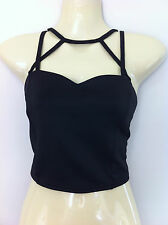 NWT Ladies Black Strappy Stretch Supre Top Size L (12 To 14)