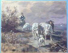 Münchner Schule Aquarell Gemälde Ziegen Hirtin Dorfrand Fritz van der Venne~1910