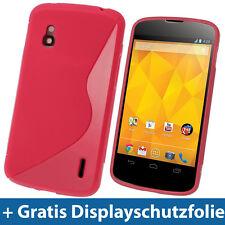 Rot Zweiton TPU Gel Tasche Hülle für LG Google Nexus 4 E960 Android