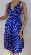 Review Size-6 Dress Sleeveless Blue White Spot Stretch Satin Made In Australia.