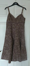 FAB M&S Per Una Brown Cream Linen Strappy Day Dress Size 8L VGC Summer Holidays
