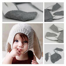 Toddler Kids Boys Girls Knitted Crochet Long Ear Rabbit  Hat Winter Warm Cap