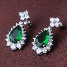 Vintage emerald 18k white gold filled Latest style luxury dangle earring
