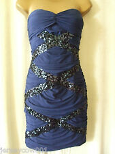 NEW RRP £50 JANE NORMAN SIZE 14 NAVY BLUE BANDEAU SEQUIN BODYCON PARTY DRESS