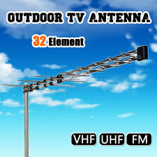 New 32 Element Log Periodic TV Antenna Outdoor UHF/VHF/FM  HDTV Digital Aerial