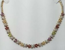 "14k Yellow Gold Sterling Silver Peridot Amethyst Diamond 925 Pave 17"" Necklace"