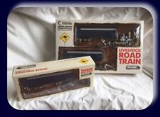 Highway Replicas 1:64 Mack Livestock Road Train Blue White & extra Trailer Dolly