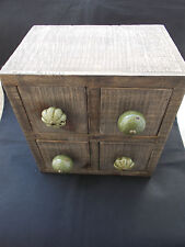 Small Wooden Chest 4 Drawer Jewellery Trinket Keepsake Box