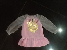 Juicy Couture New & Genuine Baby Girls Velour Pink Dress Age 6/12 MTHS & Logo