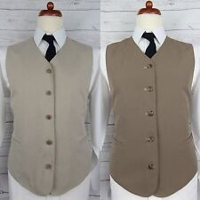 Vintage Mens Single Breast Reversible Beige / Brown Waistcoat -44- CR97