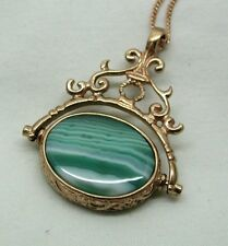 Lovely Large Ornate 9ct Rose Gold And Agate Spinner Fob / Pendant And Chain