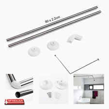 STAINLESS STEEL BATH CORNER SHOWER CURTAIN ROD RAIL L SHAPE POLE TRACK IN CHROME