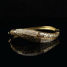 18k Gold GF Swarovski crystals leopard bracelet bangle