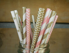 150x pink and gold mixed paper straws wedding baby shower party drinking straws