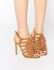 New Look Womens Wide Fit Whispers Fringed Cage Sandals Shoes Size 7/40 Tan