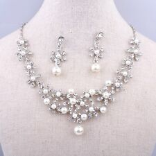 Bridal Wedding Necklace Jewellery Silver Plated Simulated Ivory Pearl & Crystals