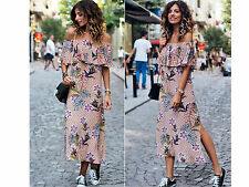 ZARA NEW FLORAL PRINTED OFF THE SHOULDER MIDI DRESS SIZE S