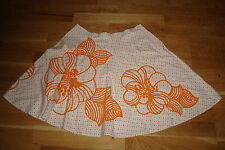 French Connection skirt s12 cream beaded floral 100% cotton lined 54cm long