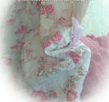 Queen Rag Bed Quilt & Pillow Sham Set Shabby Country Cottage Pink Roses Chic New